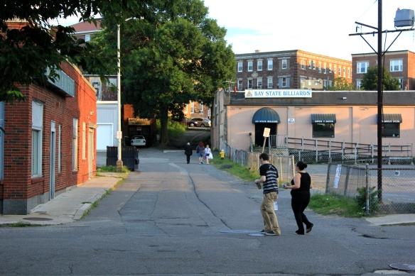 Pedestrians taking the short-cut up dodge street