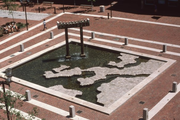 East India Fountain 1976, photo by John F Collins, Landscape Architect, from the John F Collins Society